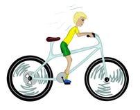 Caçoe com a bicicleta demasiado grande. Ilustração do Vetor