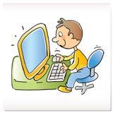 Caçoe com computador Foto de Stock Royalty Free