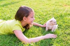 Caçoe o encontro feliz do cão da menina e de cachorrinho no gramado Fotografia de Stock Royalty Free