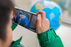 Caçoe o jogo do globo emergente aumentado da realidade com as bandeiras através do móbil imagens de stock royalty free