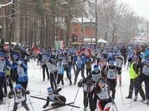 Caída al principio en la raza de esquí Fotografía de archivo