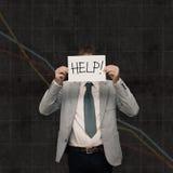 Caída de la economía - pida la ayuda Imagenes de archivo