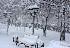 Caída de la nieve de abril Fotos de archivo libres de regalías