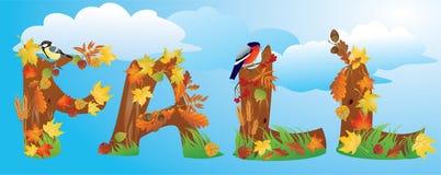 CAÍDA de la palabra en estilo del otoño stock de ilustración
