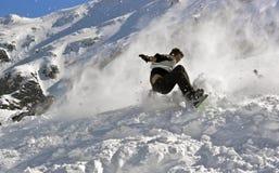 Caída de la snowboard Imagen de archivo libre de regalías