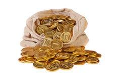 Caída de las monedas de oro de un bolso de la lona Foto de archivo libre de regalías