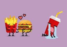Caída de los alimentos de preparación rápida en el amor que se besa con el refresco afligido ilustración del vector