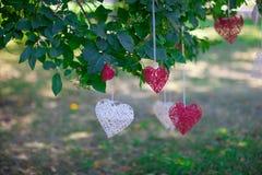 Caída de los corazones en un hilo Foto de archivo libre de regalías