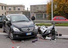 Caída de motocicleta Fotografía de archivo libre de regalías