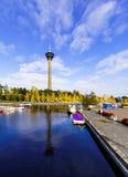 Caída de Nyasineula de la torre Tampere, Finlandia Imágenes de archivo libres de regalías