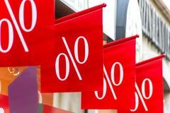 Caída de precios al por menor en porcentaje Fotografía de archivo