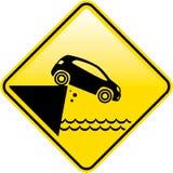 Caída del acantilado de la muestra de los extremos del camino en el vector de la señal de tráfico del peligro del agua libre illustration