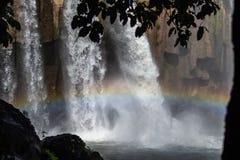 Caída del agua en bosque y arco iris en montañas guatemaltecas foto de archivo