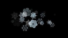 caída del copo de nieve 4k, fondo de la nieve del invierno, contexto romántico de las partículas de la Navidad almacen de video