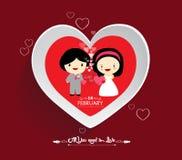 Caída del día de tarjeta del día de San Valentín en amor con el fondo de la boda Imagen de archivo