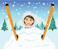 Caída del esquí Fotografía de archivo libre de regalías