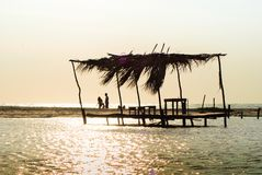Caída del sol del paisaje en las playas en Campeche México Ciudad del Carmen, en Campeche México foto de archivo