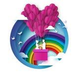 Caída en amor Amantes románticos blancos Globo de papel rosado - forma del corazón en el estilo cortado de papel Día de tarjeta d ilustración del vector