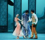 Caída en amor con el mismo de la mujer- acto en segundo lugar de los eventos del drama-Shawan de la danza del pasado Fotografía de archivo