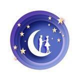 Caída en amor Luna Amantes románticos blancos Estrellas del papel del metal del oro estilo del corte del papel Día de tarjeta del ilustración del vector