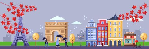 Caída en París Ejemplo del paisaje urbano, torre Eiffel, arco triunfal, edificios viejos del vector Viaje del otoño a Francia stock de ilustración