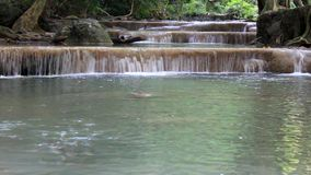 Caída Tailandia del agua de Erawan almacen de metraje de vídeo
