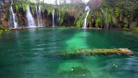 Caída y agua clara en el lago Bosque del otoño en el parque nacional de Plitvice, Croacia metrajes