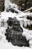 Caídas congeladas Nevado WV de la catedral de la cascada del invierno Imagen de archivo libre de regalías