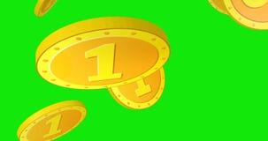 caídas del dólar 3D en fondo verde almacen de video