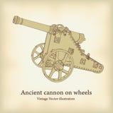 Cañón antiguo en las ruedas. Fotografía de archivo libre de regalías