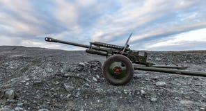 Cañón antitanques de la guerra mundial de Unión Soviética 2 almacen de metraje de vídeo