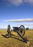 Cañón de la guerra civil en el campo de batalla de Gettysburg de la luz de la madrugada, Foto de archivo