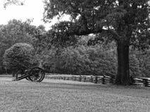 Cañón de la guerra civil en un campo Imágenes de archivo libres de regalías