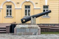 Cañón del vintage en la fortaleza de Daugavpils Imagen de archivo