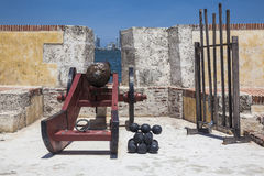 Cañón en el fuerte San Sebastian del Pastelillo Foto de archivo libre de regalías