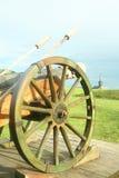 Cañón medieval de la artillería en campo Fotos de archivo
