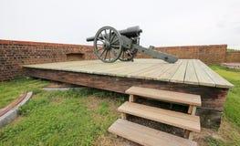 Cañón viejo de la guerra en el fuerte Pulaski, Georgia Fotografía de archivo libre de regalías
