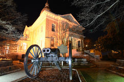Cañón y ayuntamiento dobles del barril Fotografía de archivo