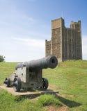 Cañón y castillo Imagen de archivo libre de regalías