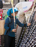 Caña de azúcar de la cosecha de la mujer de Hani Fotos de archivo libres de regalías