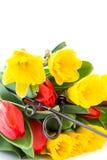 Caña de pescar con las flores de la primavera del ramo Fotos de archivo libres de regalías