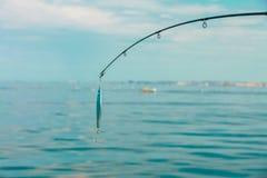 Caña de pescar del agua salada con el wobbler y la agua de mar azul imagen de archivo