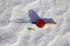 Caña de pescar del hielo Fotografía de archivo libre de regalías