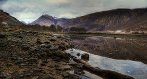 Cañada y lago Etive, valle ocultado, Escocia Foto de archivo libre de regalías