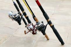 Cañas de pescar Imagen de archivo libre de regalías