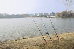 Cañas de pescar de la orilla del lago en día de primavera soleado Fotos de archivo