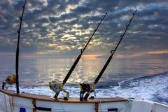 Cañas de pescar del barco Foto de archivo libre de regalías
