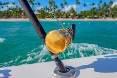 Cañas de pescar del barco Fotos de archivo libres de regalías