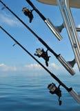 Cañas de pescar en el barco Fotografía de archivo