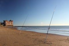Cañas de pescar y castillo Fotografía de archivo libre de regalías